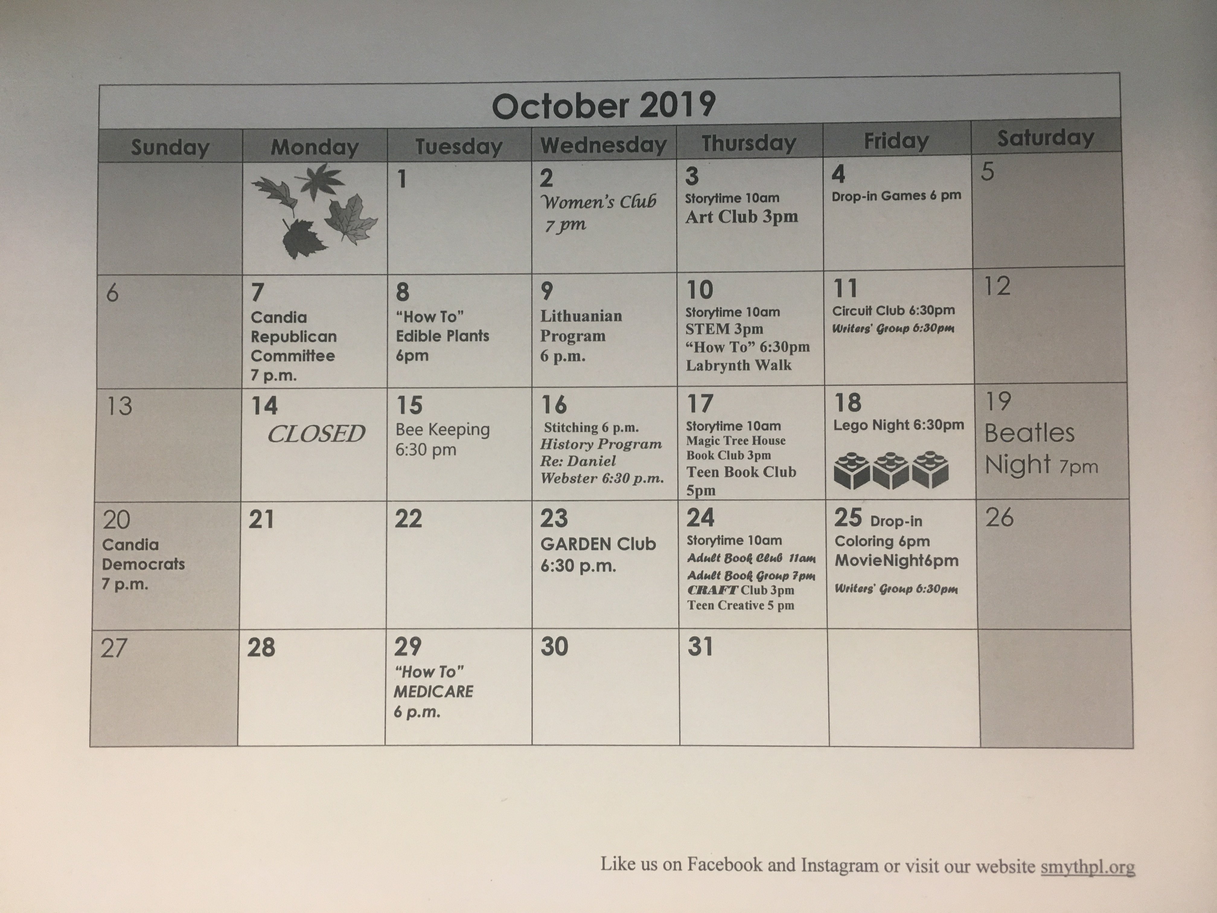 October 2019- Right Click to view larger
